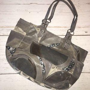 COACH Gray Patchwork Shoulder Bag